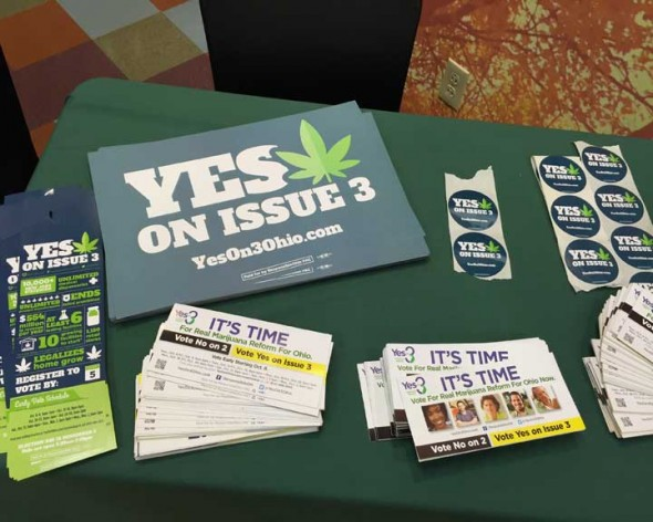 Biased literature from Responsible Ohio at Yellow Springs' marijuana forum.