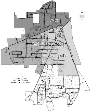 Precinct map of Yellow Springs A map for Yellow Springs precincts 440, 441, 442 and 443 breaks the village down by quadrant. Miami Township precinct 455 includes the eastern portion of the township, or residences east of Grinnell and Bryan Park roads. Precinct 456 includes the western half of the township.