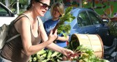 """A series of free events focused on local food will kick off this weekend at 4 p.m. Saturday at McGregor 113 on the Antioch campus with a talk by Leslie Schaller of the Athens Food Venture Center. On Sunday, the film """"Fresh"""" will be shown at the Little Art at 1 p.m., followed by a workshop at 3 p.m. at the library. Shown above is Alison Maier in 2014 at the summer Farmers' Market, which is one component of a local food resiliency network, with Kara Baker of Springfield's Baker Market and Greenhouse in the back. (Archive Photo by Suzanne Szempruch)"""