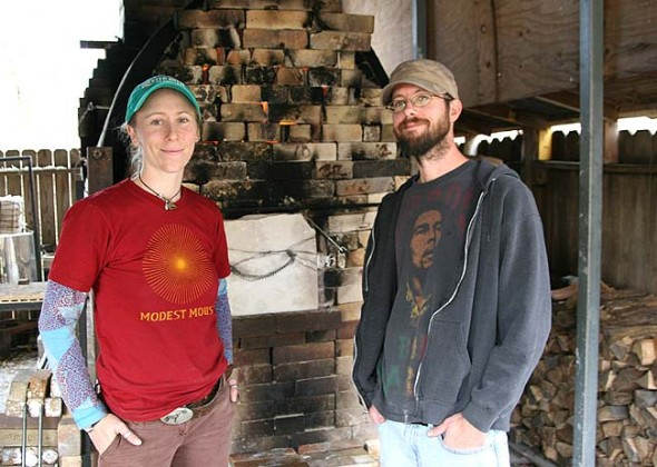 A reception for Nicki Strouss, left, shown above with Brad Husk, will be held at the John Bryan Community Pottery this Friday, Nov. 20, at 6 p.m.