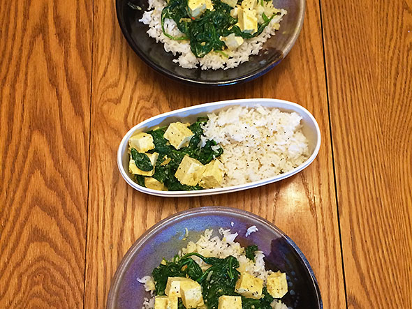 out of the box, saag tofu