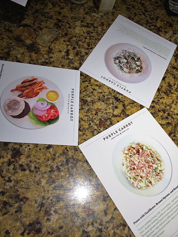 Purple Carrot recipe cards