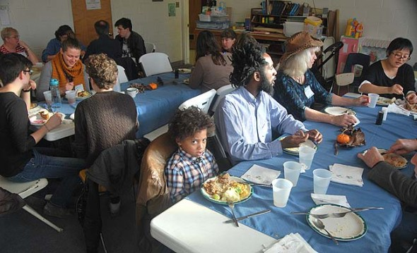 Even the kids' playroom overflowed with food, conversation and another year of sated diners at the annual Thanksgiving event.