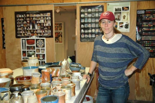 A show of the work of new technician Nicki Strouss is currently on exhibit at Yellow Springs Community Pottery, in the penguin building next to John Bryan Community Center. (photo by Carol Simmons)