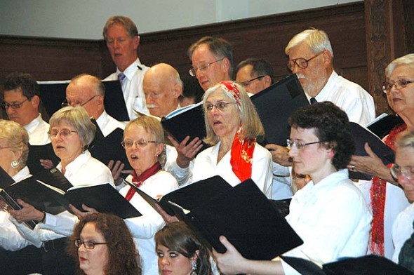 """The Yellow Springs Community Chorus and the Yellow Springs Chamber Orchestra joined forces to present a holiday concert of the music of Mendelssohn and Bach. Shown above are chorus members performing the classic """"Magnificat"""" by Bach. (Photo by Diane Chiddister)"""