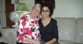 Antioch College student Jumana Snow and her mother, Susan, in their home. Mother and daughter moved to Yellow Springs from Jeddah, Saudi Arabia, in 2014 for Jumana to attend college. Coming here was a sort of homecoming for Susan, who grew up in the United States (in Vermont), but has lived in Saudi Arabia for 28 years. This is Jumana's first time living outside the Middle East. (photo by Audrey Hackett)