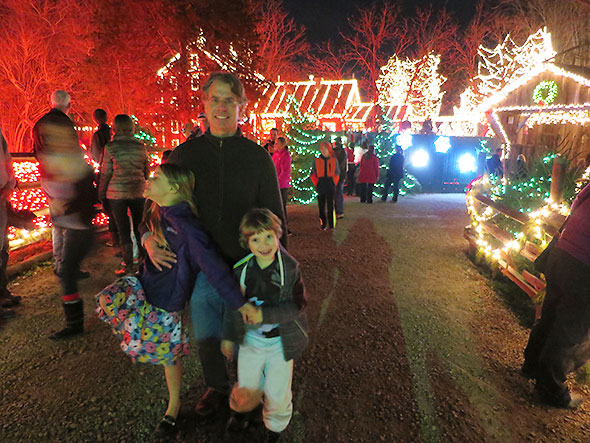 family at Clifton Mill Light Show