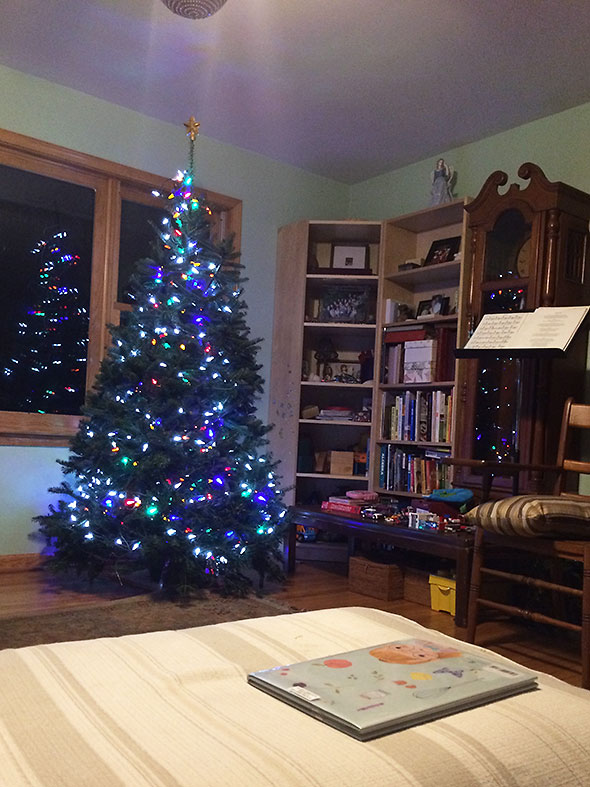 tree lit and ready for ornaments