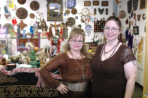 House of Ravenwood's Marta Mari (left) and Lorelai Wessendorf stand in the store's recently expanded square footage. The store has added a number of new displays and cases for their eclectic metaphysical wares. (Photo by Dylan Taylor-Lehman)