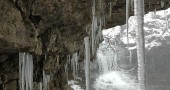 Hanging around, chillin': A late morning journey out into winter's finest finds the cascades in Glen Helen bejeweled with icicles underneath the limestone cliff overhangs. The water still roared in the background, diffused by snow squalls, casting an almost timeless, prehistoric atmosphere over the entire scene. (Photos by Robert Hasek)