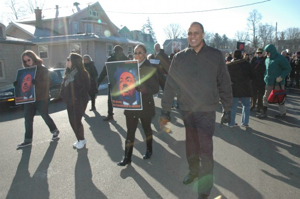 This year's community march and program honoring Dr. Martin Luther King Jr. takes place on Monday, Jan. 18, with the march starting at Mills Lawn School at 10:30 a.m. and the program beginning at the Central Chapel AME Church at 11. Shown above is last year's march.