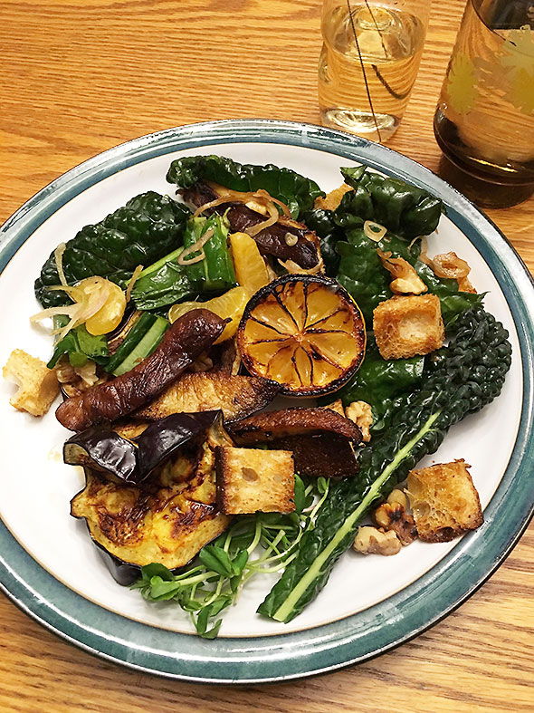New Year's Day dinner citrus, kale, mushroom, and eggplant