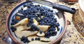 making Pear Plum Blueberry Pie
