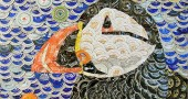 Artist John Taylor-Lehman uses beer caps to create colorful, mosaic-like works. The Zanesville resident began experimenting with the material about five years ago in an effort to produce something distinctively his own. His beer cap art is on display at the Yellow Springs Brewery through Feb. 28, with an artist's reception this Friday, Feb. 12, from 6 to 8 p.m. (Submitted photo)