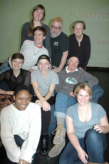 "Shown above is the cast of the upcoming play ""Marcellus Shale"" at the Antioch Foundry Theater. From left to right in front row are Ida Lease Cummings and Parker Phelan; center row, Selena Wilkinson, Cole Gentry, John Fleming; third row, Sean Allen; and back row, Hannah Priscilla Craig, Michael Casselli and director Louise Smith."