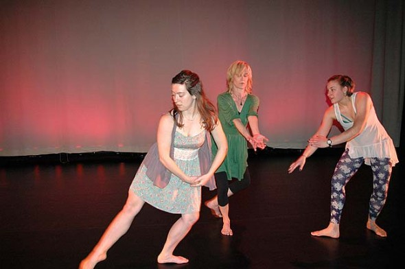 About 30 dancers, including Katy Gaines, Angie Bogner and Sasha Mrozinski, performed in the annual Community Dance Concert, held at the Foundry Theater in February. (Photo by Carol Simmons)