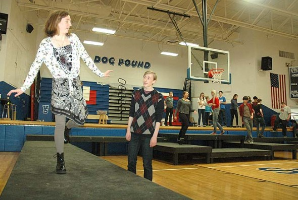 "Charlotte Walkey and Lucas Mulhall recently rehearsed a scene from the YSHS musical ""Footloose,"" which will be performed this weekend and next."