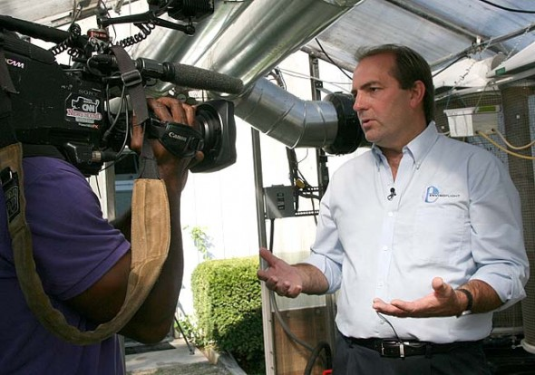 The local business EnviroFlight, located at MillWorks, was recently purchased by Intrexon, a global company with a focus on synthetic biology. Shown above is EnviroFlight's founder and president, Glen Courtright, in a 2013 interview with CNN about his new process for creating fish and animal food from insect larvae. (News Archive Photo by Lauren Heaton)