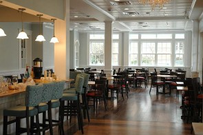 """The Mills Park Hotel will also house Ellie's, a restaurant serving """"upscale Southern comfort food."""" The menu and decor was developed by Katie Hammond and Grant Peterson and features tables made from trees that used to be on the hotel property. (Photo by Dylan Taylor-Lehman)"""