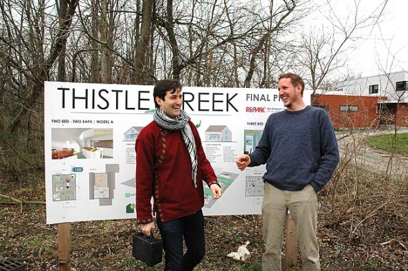 Green Generation design-build team Alex Melamed, left, and Andrew Kline are developing the six remaining lots at Thistle Creek on King Street. They're offering two home designs that emphasize low-maintenance living and energy efficiency. The young builders intend to finish the development, begun in 2005 by local builder Jonathan Brown. (Photo by Audrey Hackett)