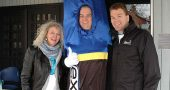 "YSI/Xylem employees in Yellow Springs recently did a ""Walk for Water"" from the YSI campus to the Little Art Theatre to raise funds for Xylem's global water philanthropy. From left, local YSI/Xylem employee Anita Brown, employee Tim Benson (in costume) and Colin Sabol, president of Xylem Analytics and Treatment. (Photo by Audrey Hackett)"
