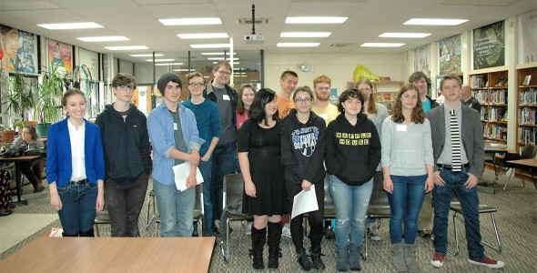 Participants in last Saturday's writing competition at YSHS. Front row, from left: organizer Ursula Kremer, Aidan Hackett, Grant Crawford, Juno Shemano, Erin Mooneyham, Alice Miller, Ellery Bledsoe and organizer Henry Potts-Rubin. Back row, from left: Duard Headley, Bear Wright, Greta Kremer, Peter Day, Windom Mesure, Eilis Price and Keegan Chlanda.
