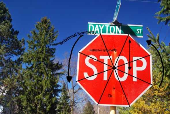 The various geometric patterns found on a stopsign (photo by Aaron Zaremsky)