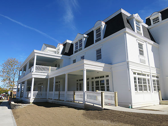 The hotel gets a fresh coat of white paint
