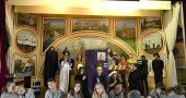 "The Antioch School will perform ""The Phantom Tollbooth"" this weekend at the Clifton Opera House. The cast is pictured in just some of the costumes they'll wear: up front are the sluggish Lethargarians; behind them are demons, number miners, King Azaz and his advisors, the Mathemagician, the Spelling Bee, Dr. Cacophonous A. Dischord, the Senses Taker, Milo, Tock and the Tollbooth itself. (Photo by Lauren Shows)"