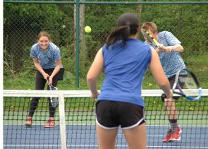 The Yellow Springs Bulldogs tennis doubles team of Kasey Linkhart and Dylan Dietrich served their way to victory against the Xenia Christian Ambassadors, winning both of their matches 6–1. The Bulldogs emerged victorious with a final score of 3–2. (Photo by Dylan Taylor-Lehman)