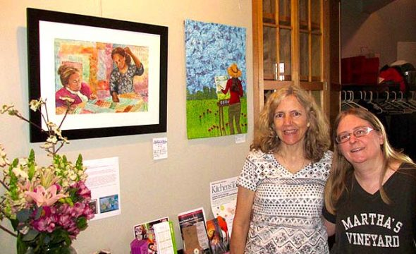 Watercolors by Libby Rudolf, left, and art quilts by Pam Geisel are on display at The Winds Cafe. An opening reception for the artists will take place this Sunday, May 15, from 4:30 to 6:30 p.m. (Submitted photo)