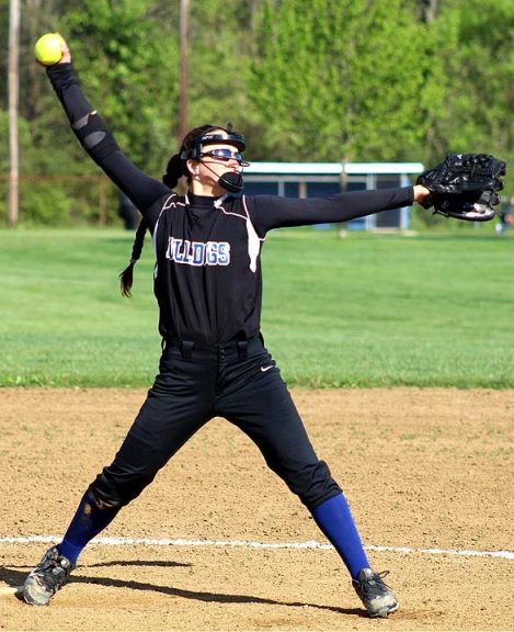 Hannah Morrison winds up a pitch for YSHS Softball The Lady Bulldogs played their final game of the season last week agianst Twin Valley South at Gaunt Park.
