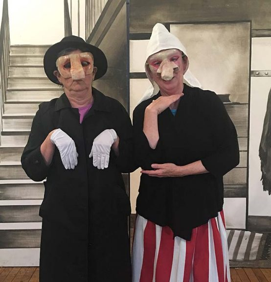 "Ellen Maddow and Antioch College Associate Professor of Performance Louise Smith presented their original performance piece, ""Fat Skirt, Big Nozzle,"" at the Foundry Experimental Theater last June. (Submitted photo)"