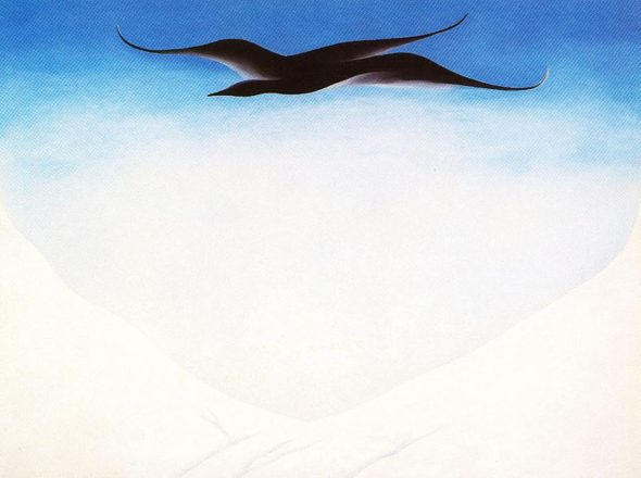 """""""A Black Bird with Snow Covered Red Hills,"""" Georgia O'Keeffe, 1946. (Via Wikiart)"""