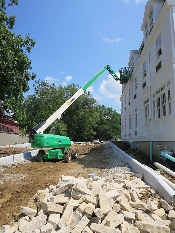 crane at third story dormer