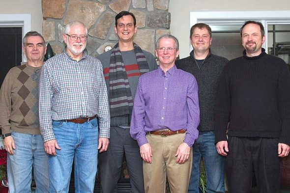Members of local citizen group Springs-Net gathered earlier this year to discuss a proposal for a municipal fiber optic network in Yellow Springs. From left to right, Dan Carrigan, Scott Fife, Matt Cole, Tim Barhorst, Thor Sage and Jordan Gray. Not pictured: Nick Gaskins, Ellis Jacobs, Doug McKinley and Denny Powell. (Submitted photo)