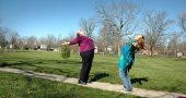 Linda Griffith and Beth Lackey are doing laughing yoga this spring. (Photo by Audrey Hackett)
