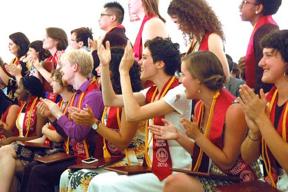 Three weeks ago, the class of 2016 cheered each other on during commencement exercises, the second graduation ceremony of the reopened Antioch. The college received word of its accreditation from the Higher learning Commission on Monday, July 11. (Photo by Matt Minde)
