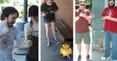 "Luke Roburn and Leah Cultice of Beavercreek were hot on the trail of a Pokémon; a screenshot from Antioch student Claire ""Connie"" Brunson's phone, outside of Tom's, with ""Pidgie""; brothers Chris and Cody Sackett, from Troy, outside the Emporium. (Photos by Dylan Taylor-lehman, except center, submitted)"