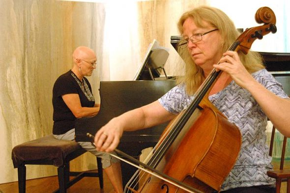 Pianist Karen Gardner and cellist Polly Case-Lohrer, shown above, will perform, along with pianist Sam Reich at the second concert in the Yellow Springs Piano Fest series. (Photo by Matt Minde)