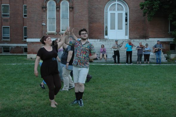 """Miriam Eckenrode Saari and Garrett Young at a recent rehearsal for """"Much Ado About Nothing,"""" to be presented this weekend and next at Antioch College."""