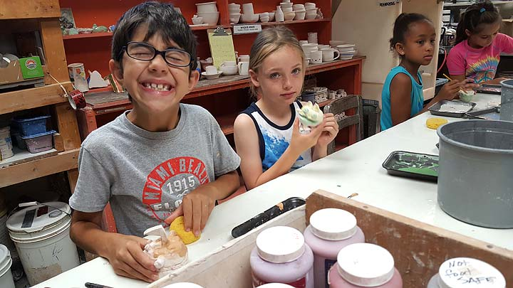 Mudpuppies: Children's Center visits John Bryan Pottery