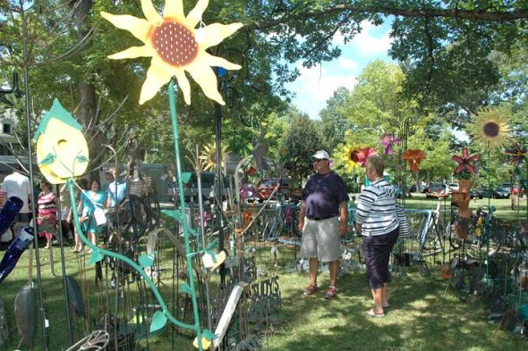 Artistic metal lawn creations were among the many original works of art presented at last year's Art on the Lawn. This year's event takes place on the Mills Lawn grounds this Saturday, Aug. 13, from 10 a.m. to 5 p.m. (News archive photo by Diane Chiddister)