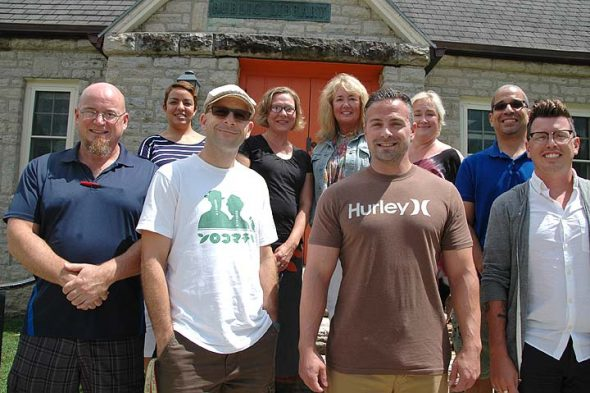 Eight new teachers and the new fundraiser for the Yellow Springs school district took part in orientation activities last week. Front row, from left, teachers Steve Bleything, Kevin Lydy, Robert Grote and Christopher Snider. Back row, from left, district fundraiser Dawn Boyer and teachers Shannon Wilson, Carrie Juergens, Lorrie Sparrow-Knapp and Jaimie Adoff. Yellow Springs students return to school this Friday, Aug. 19. The three new Yellow Springs High School teachers will be profiled in the August 25 issue of the News. (Photo by Carol Simmons)