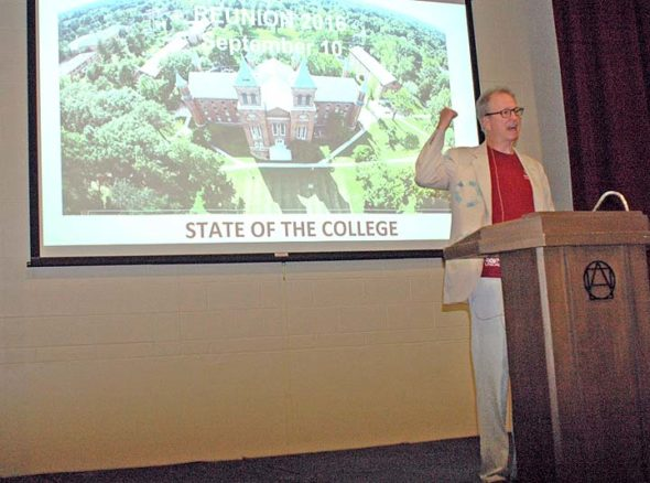 """Antioch President Tom Manley delivered a """"State of the College."""" (photo by Diane Chiddister)"""