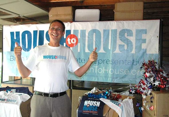 """Villager Brian Housh is running as a Democrat for the 73rd district state representative seat against incumbent Rick Perales, a Republican. His campaign slogan is """"Housh to House,"""" and his Pleasant Street home serves as his campaign headquarters. Housh's platform emphasizes bipartisanship and focuses on issues of education, economic development and socially responsible fiscal practices. (Photo by Audrey Hackett)"""
