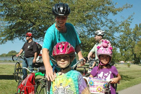 "The Antioch School's 2016 annual ""Anything on Wheels"" fundraiser featured more than 30 riders who took off under blue skies, down the Little Miami Scenic Trail. (Photo by Audrey Hackett)"