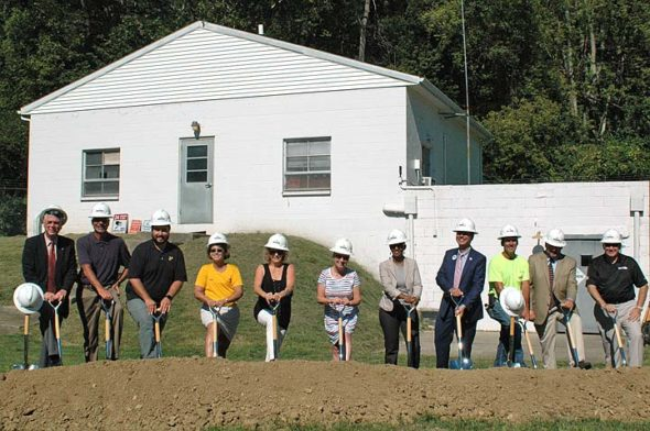 A groundbreaking ceremony last Thursday kicked off construction of Yellow Springs' new water treatment plant. Construction of the plant, which will cost $7.2 million, begins on Oct. 1 and will take approximately 15 months. (Photo by Audrey Hackett)
