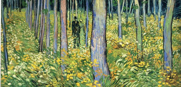 "Vincent van Gogh, ""Undergrowth with Two Figures,"" 1890. In the collection of the Cincinnati Art Museum. Image via Wikimedia."
