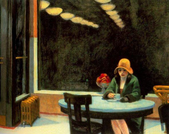 "Edward Hopper, ""Automat,"" 1927. Via Wikiart."
